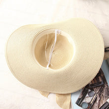 Load image into Gallery viewer, Hand Made Straw Hat, Ribbon Bow-knot Wide Brim Beach Hat