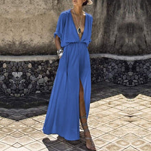 Load image into Gallery viewer, Summer Women Loose Pockets Maxi Dress Bohemian Deep V-Neck Long Dress Casual Short Batwing Sleeve Split Dresses-Drop it when its Hot