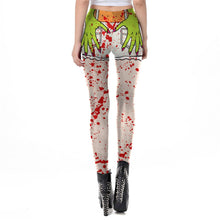 Load image into Gallery viewer, Ghost Hand Halloween Leggings Blood Spatter Digital Print Plus Size Cosplay