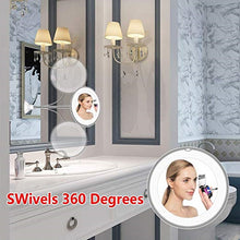 Load image into Gallery viewer, 360 Degree Rotation 10X Magnifying LED Suction Cup Folding Vanity Mirror