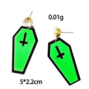 Vampire Green Halloween Dark Coffin Drop Earrings