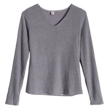 Load image into Gallery viewer, Long Sleeve V Neck Thin Slim Fit Knit Sweater