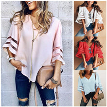 Load image into Gallery viewer, Casual Loose V Neck Kimono Chiffon Blouse Lady Summer Half Sleeve Solid Color Blouse-Women's clothing-Drop it when its Hot
