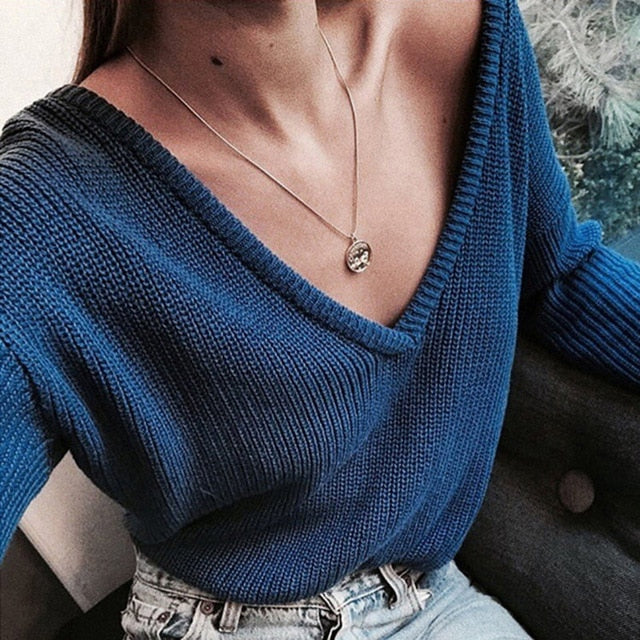 Elegant Autumn Winter Knitted Deep V Neck Sweaters
