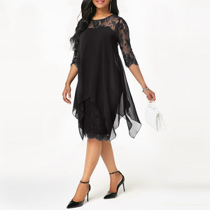 Plus Size Chiffon Overlay Three Quarter Sleeve Stitching Irregular Hem Lace Dress
