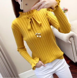 Vintage thick Autumn Winter Sweater, ruffled collar Long Sleeve bow