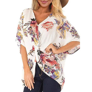 Fashion Concise Bohemia Style Women's Floral Printed V Neck Ruched Twist Tops Short Sleeve Loose Casual Vacation Shirts-Drop it when its Hot