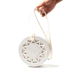 White Round Rattan Bags For Women Boho Beach Crossbody Bag Straw Handmade Woven Circle Shoulder Bag Female Handbags-Drop it when its Hot