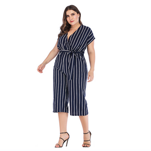 GIBSIE Summer Office Lady Elegant Belted Striped Jumpsuit Women Plus Size Wrap V Neck Casual Pocket Rompers Womens Jumpsuit-Drop it when its Hot