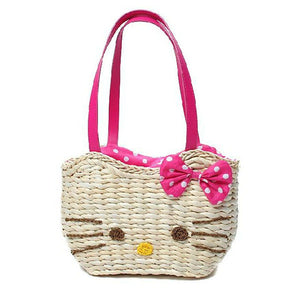 Hellokitty Korean Fashion Straw Bag Cornhusk Straw Bag-Drop it when its Hot