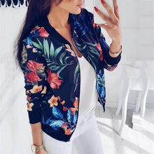 Load image into Gallery viewer, Floral Print Retro Ladies Bomber Jacket