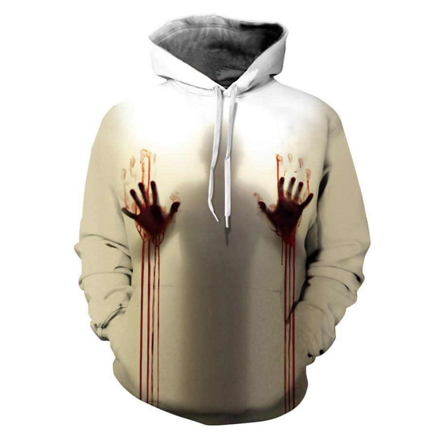 Halloween Ghost 3D Printing Long Sleeve Hooded Sweatshirt