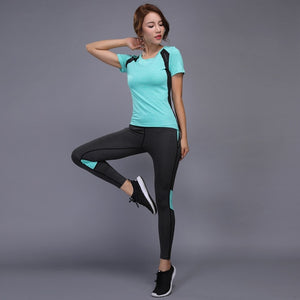 Yoga Set sports wear for women gym TShirt + Pants Breathable Gym Workout Clothes Compressed Yoga Leggings Sport Suit-Drop it when its Hot