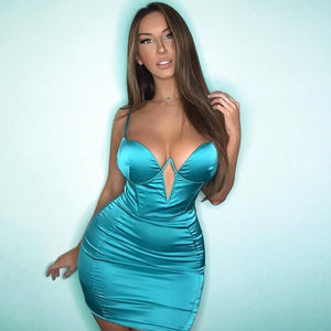 Summer Satin Mini Dress Women Padded Bra Double Straps Plunging Neckline Cut Out dress-Drop it when its Hot
