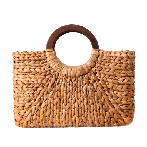 Women Vintage Rattan Handbag Female Bohemian Summer Beach Straw Bags Lady Simple Weave Bag Handmade Casual Large Tote-Drop it when its Hot