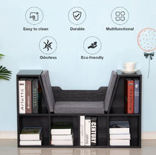 Load image into Gallery viewer, Bookcase Storage With Cushioned Seat, 102W x 30D x 61Hcm-Black/Grey