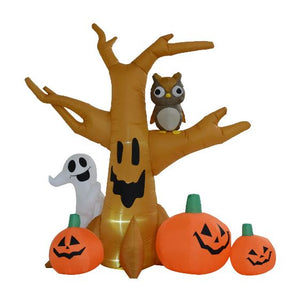 Inflatable Tree With Ghost, Owl & Pumpkins.