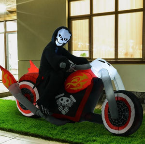 Inflatable Grim Reaper on Motorcycle Halloween Decoration - 180L x 55W x 120H cm-Drop it when its Hot-Drop it when its Hot