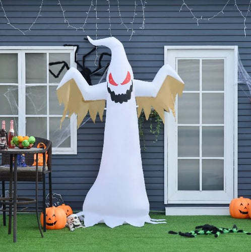 240cm Halloween Inflatable Ghost with Red LED Lights