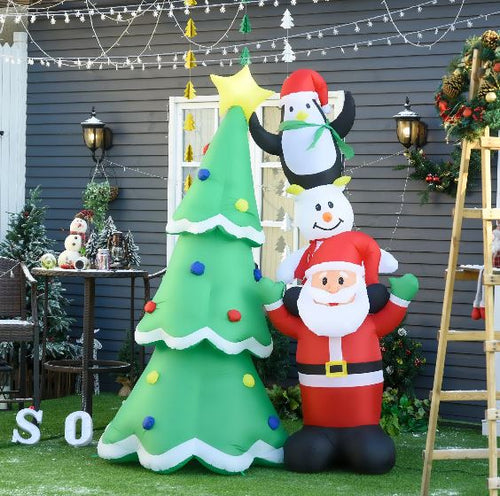 2.4m LED Inflatable Christmas Tree With Santa, Snowman & A Penguin.
