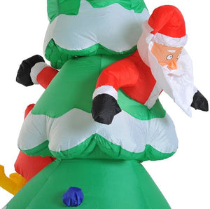 7 Ft Inflatable Christmas Tree With Santa & Rudolph Decoration.