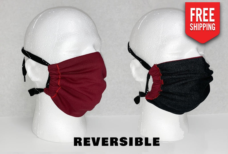 Reversible Face Mask Adult / Black Cherry