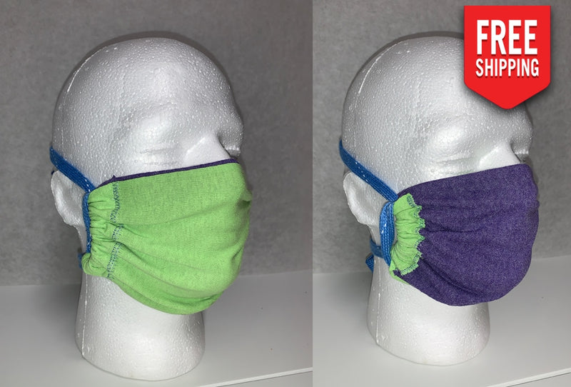 Reversible Face Mask Adult / Lime Purple
