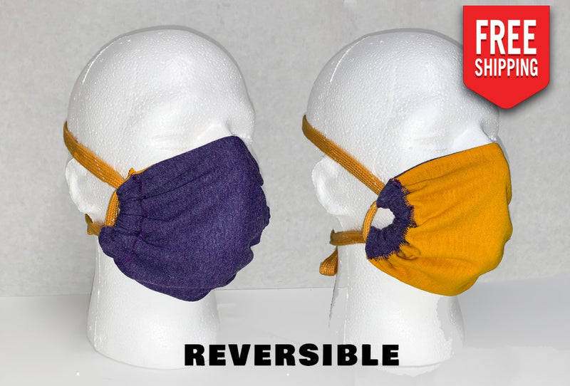 Reversible Face Mask Adult / Royal Purple And Gold