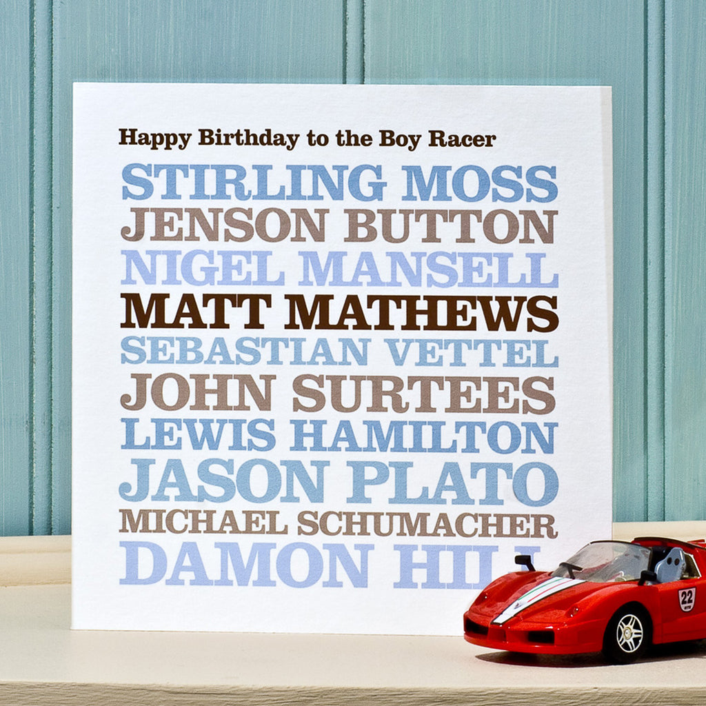 Personalised Famous 'Racing Driver' Card