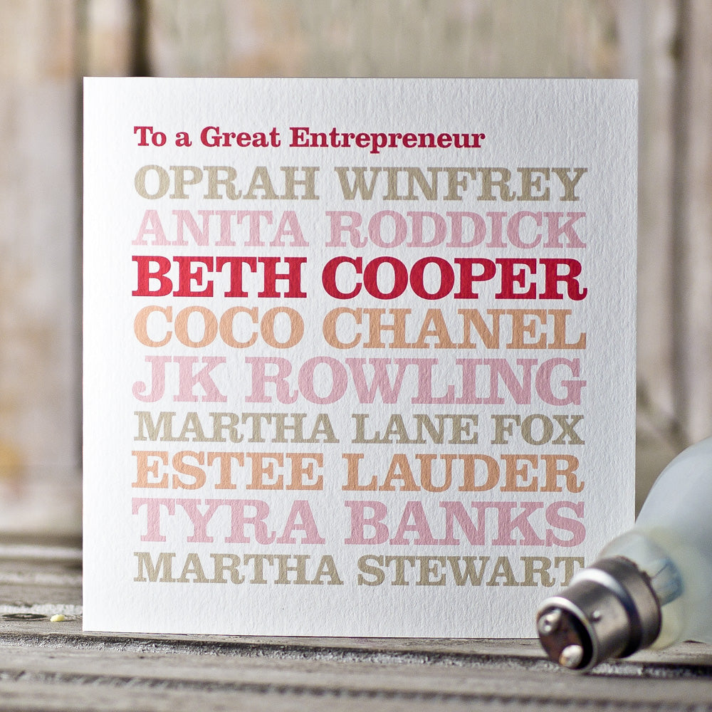 Personalised 'Entrepreneur' Card
