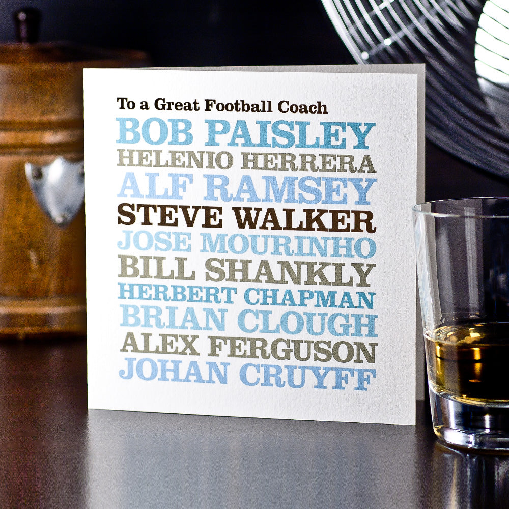 Personalised Famous 'Football Coach' Card