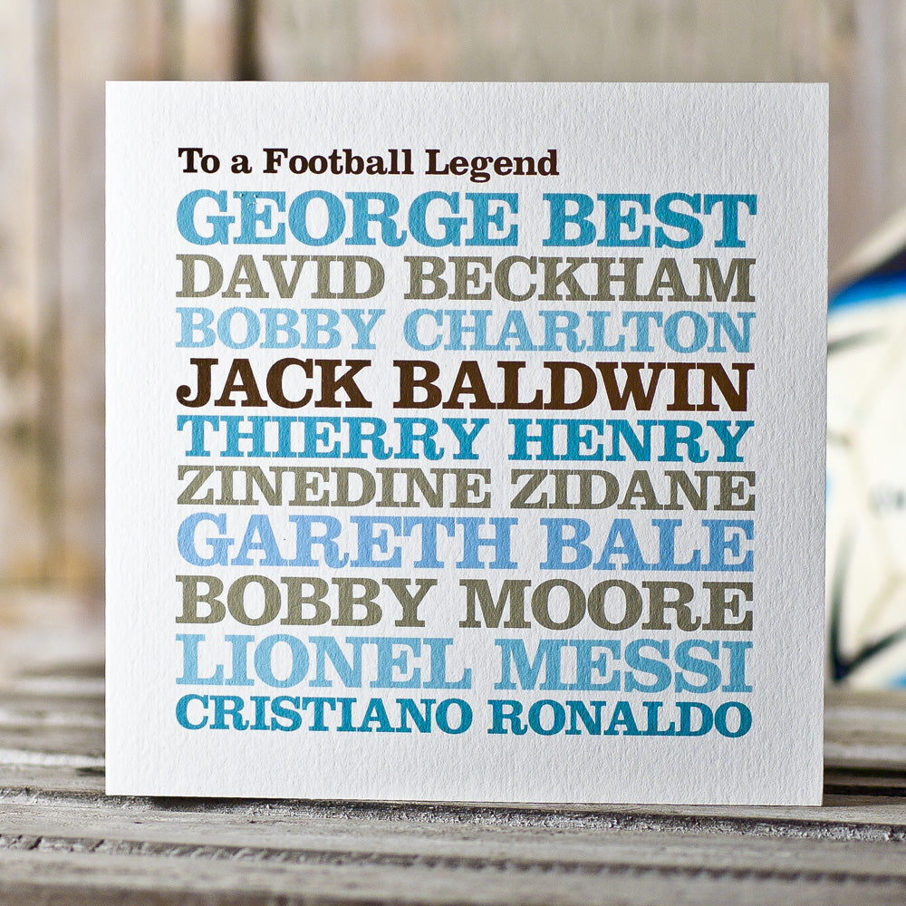 Personalised Famous 'Football Legend' Card