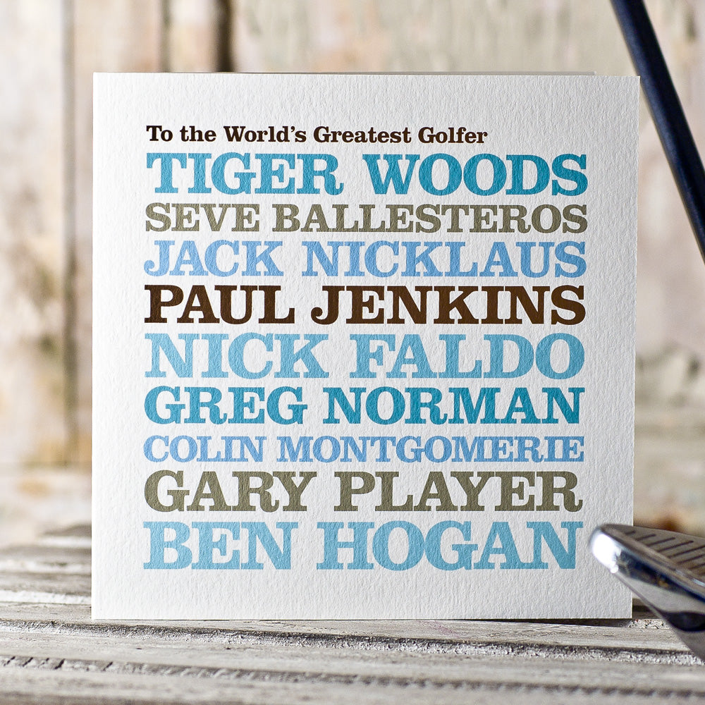 Personalised Celebrity 'Golfer' Card