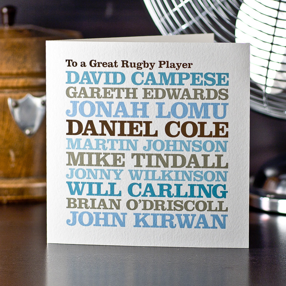 Personalised Celebrity 'Rugby Player' Card