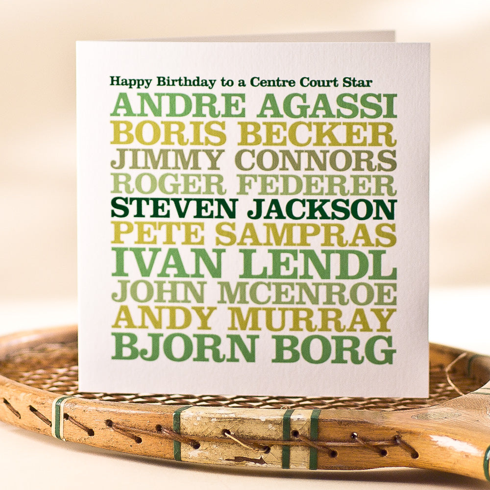 Personalised Famous 'Tennis Star' Card