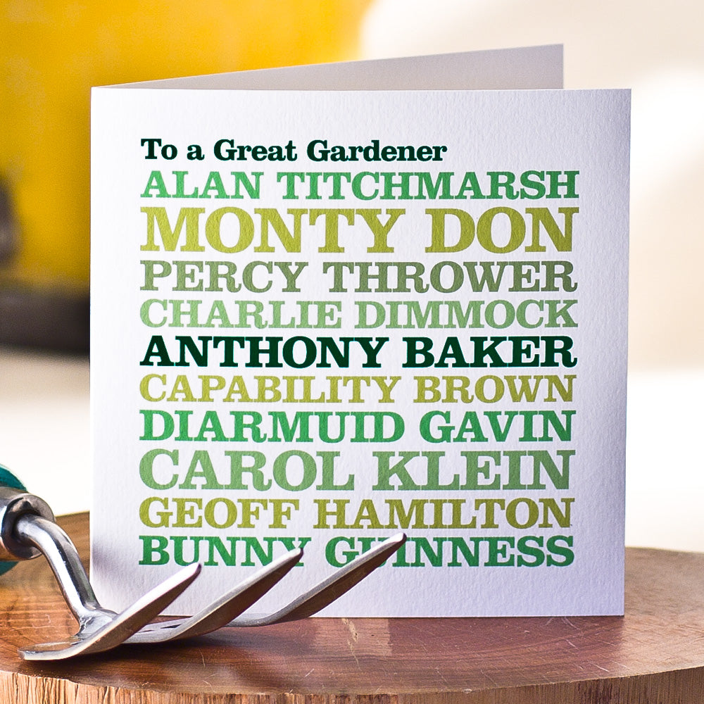 Personalised Celebrity 'Gardener' Card