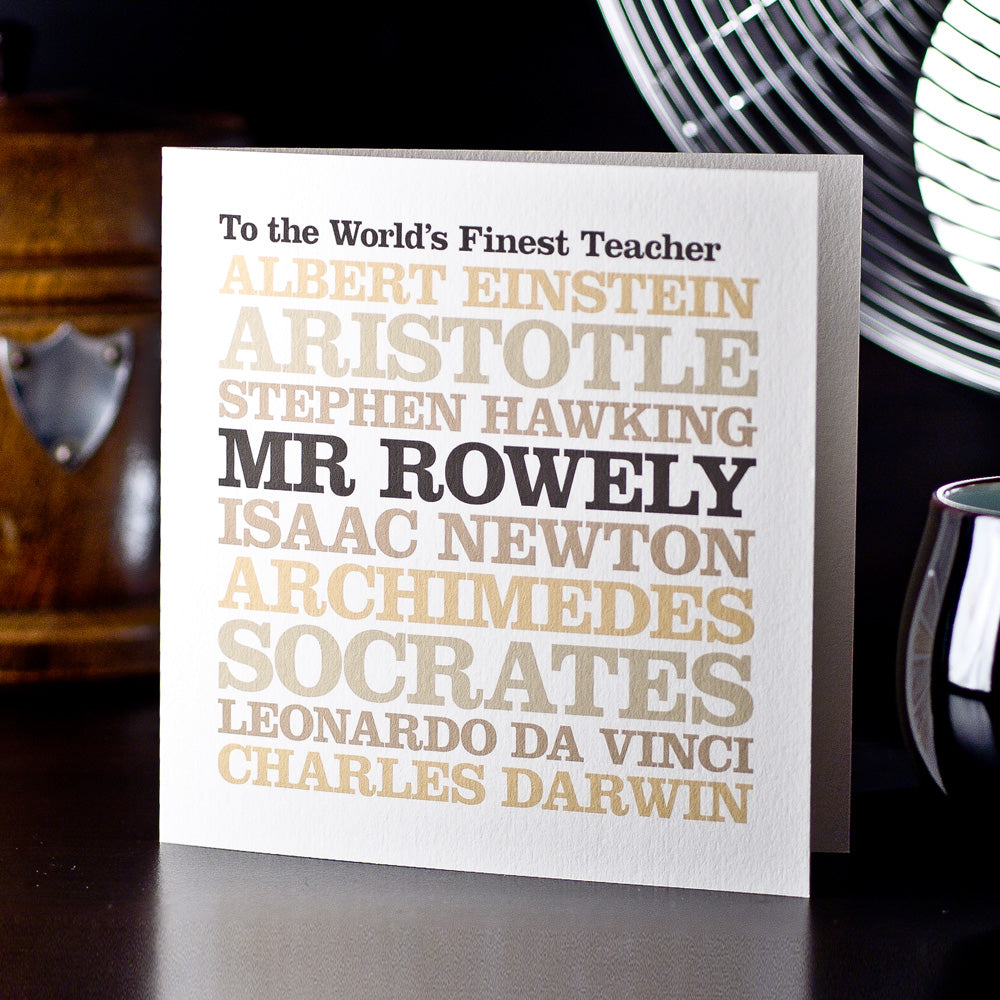 Personalised Famous 'Teacher' Card