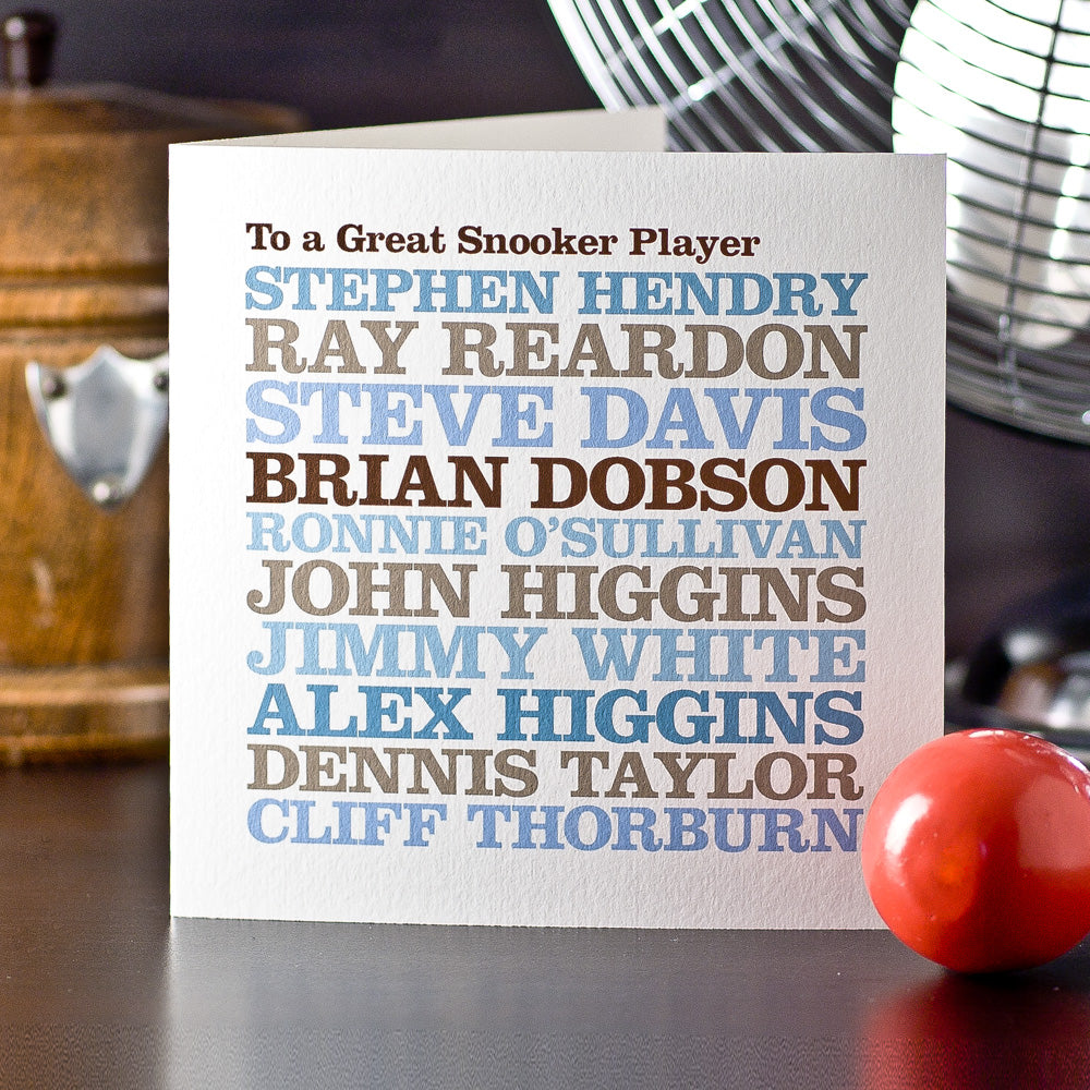 Personalised Celebrity 'Snooker Player' Card