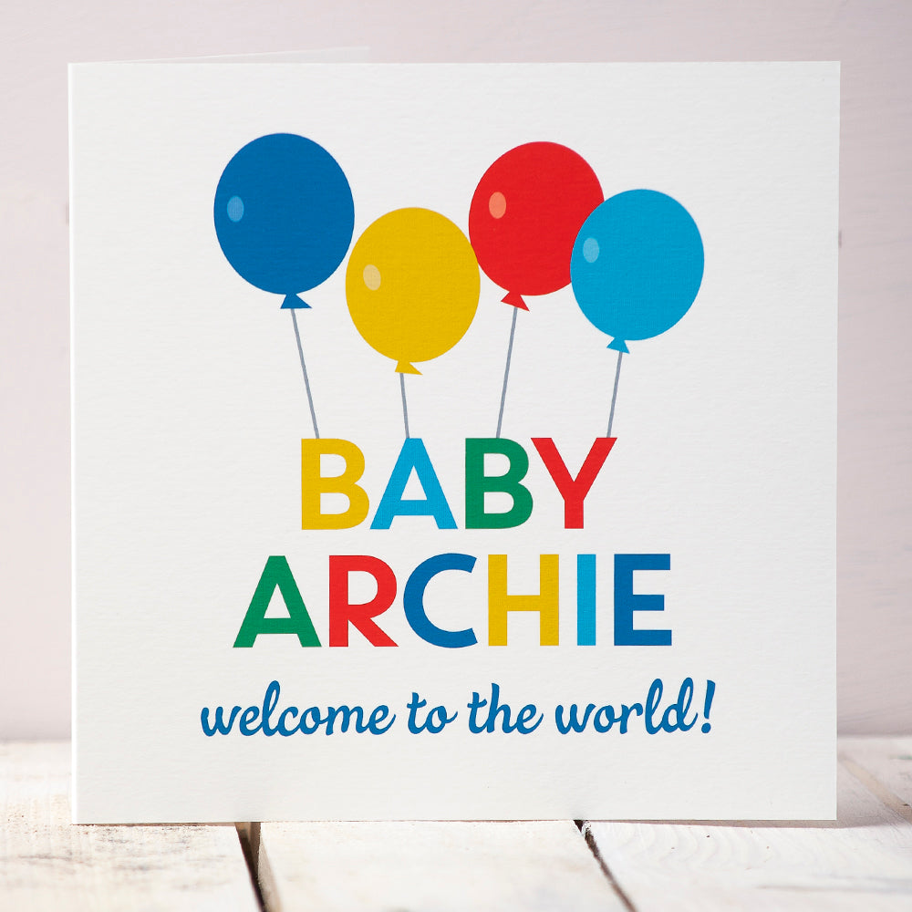 Personalised New Baby Boy Balloons Card