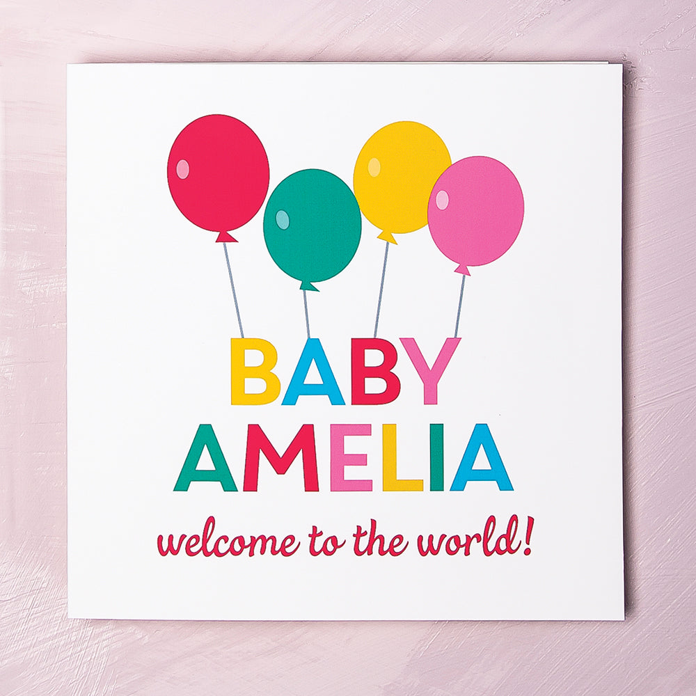 Personalised New Baby Girl Balloons Card
