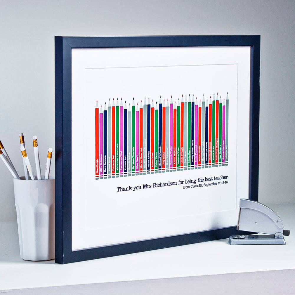 Personalised Class Pencil Print For Teacher