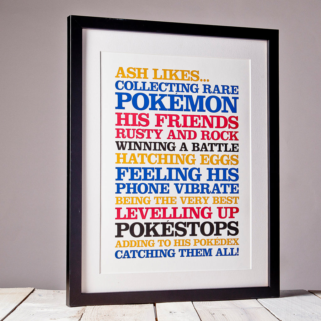Children's Personalised 'Likes' Poster Print_Primary Framed