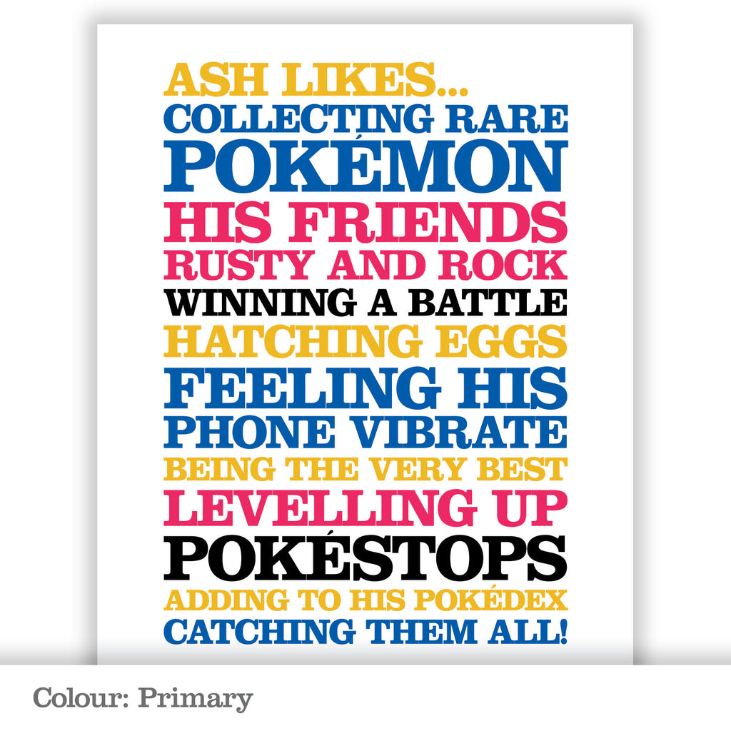 Children's Personalised 'Likes' Poster Print_Primary
