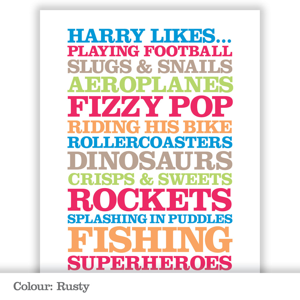 Children's Personalised 'Likes' Poster Print_Rusty