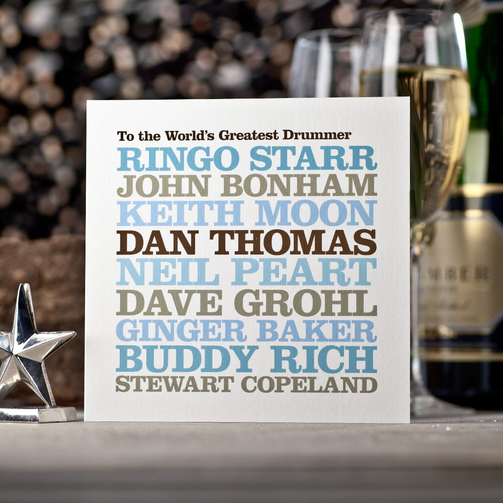 Personalised Famous 'Drummer' Card