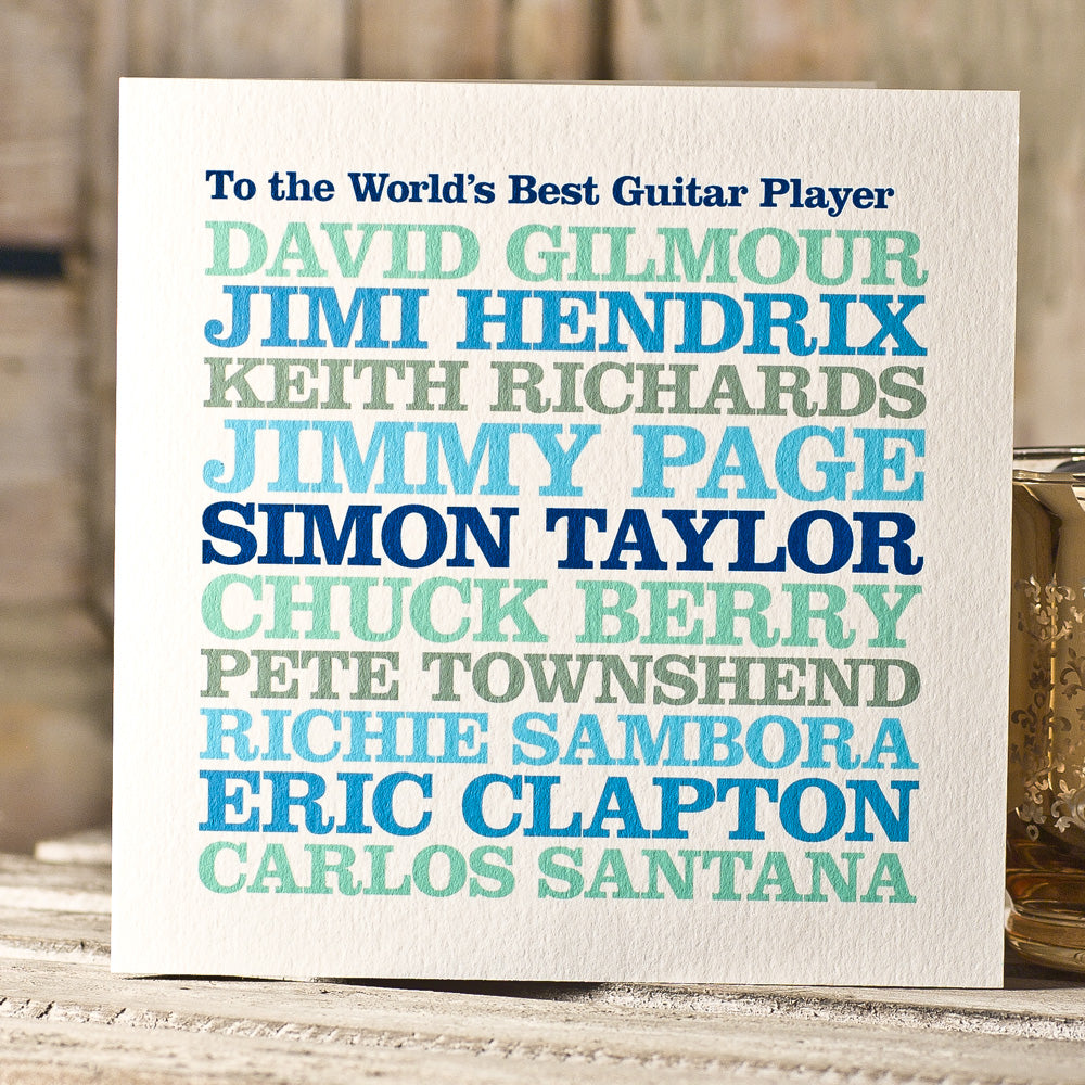 Personalised Famous 'Guitarist' Card