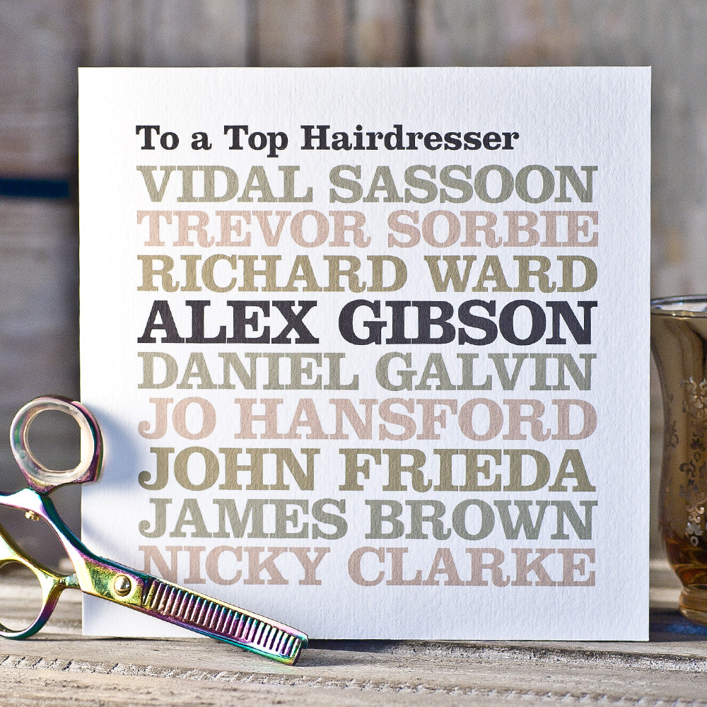Personalised Celebrity 'Hairdresser' Card