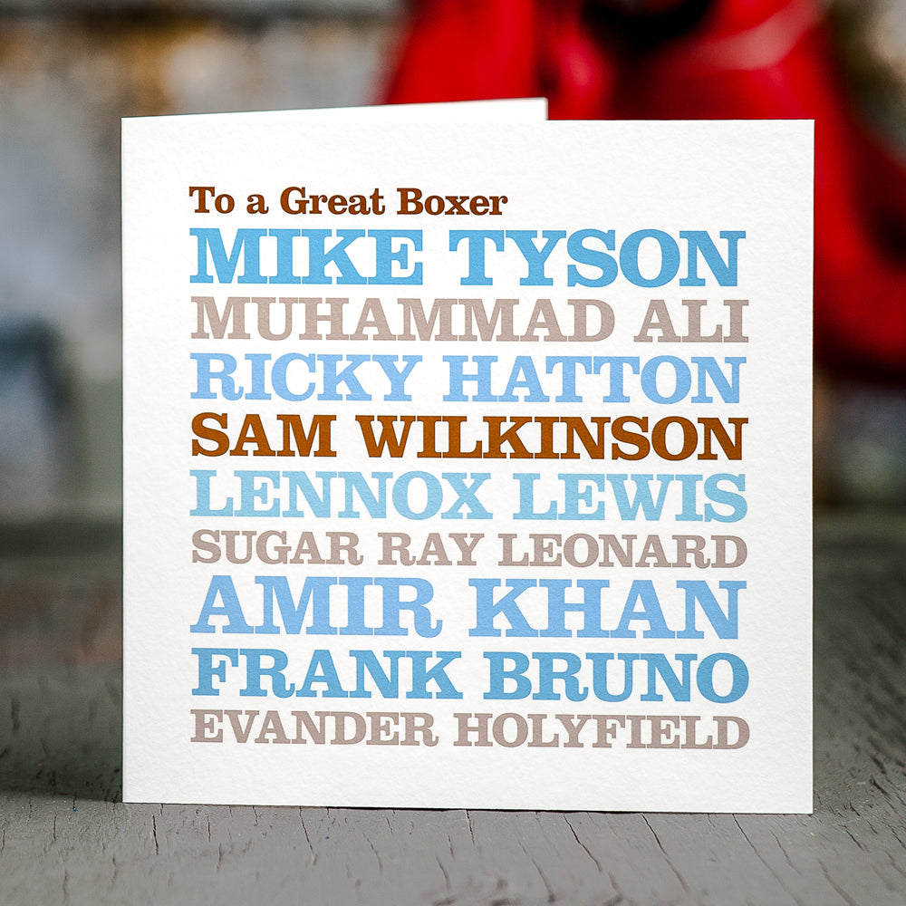 Personalised Famous 'Boxer' Card