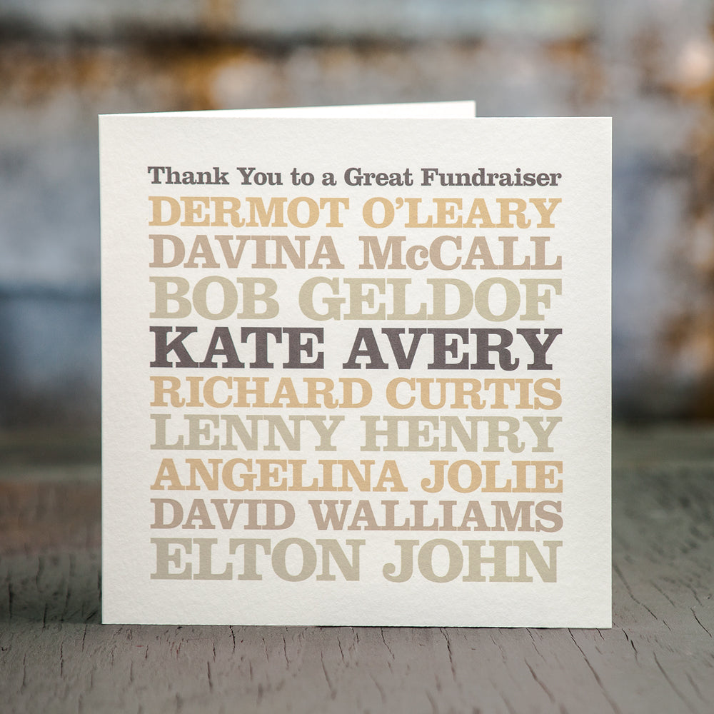 Personalised Famous 'Fundraiser' Card