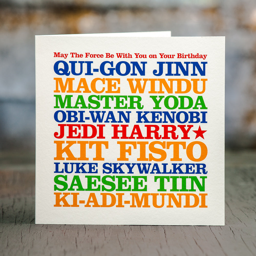 Personalised Famous 'Jedi' Card